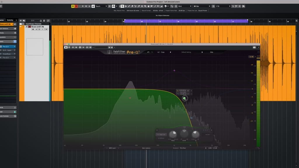 snare sample low pass filter